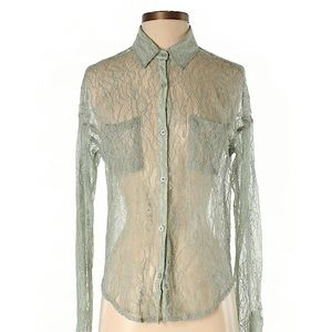 Free People Mint Lace Button Up Shirt